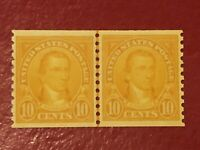 US SCOTT Cat # 603 MH OG Coil LINE PAIR 10c VF-XF Monroe Stamps FREE SHIPPING