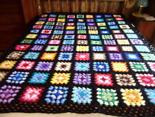 "Gorgeous  Hand Crocheted Granny Square Afghan 58""x76"" with Black Edging"