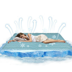 Magic Cooling Gel Cool Pad Mat Mattres Topper Pillow Bed Cold Uber Large Chilled
