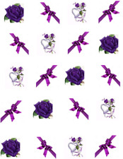 Purple Rose & Bow  Waterslide Nail Decals/Nail art