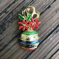 Vintage Christmas Ornament Enamel Brooch Red Green Blue Gold Holiday Pin Jewelry