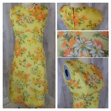 1960s Vintage Dress~Yellow Organza Overlay Floral A-line Pinup Rockabilly Vtg 18