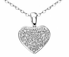 Naava 9 ct White Gold Diamond Heart Pendant and 46cm Chain (PP01334W)