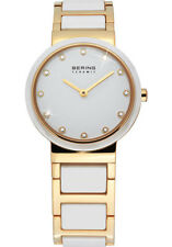 Bering Womens 10725-751 Ceramic White Dial Gold Stainless Steel Band SS Watch