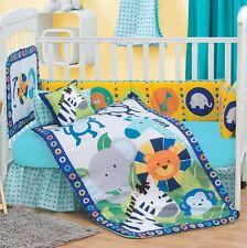 New Baby Boys Elephant JUNGLE DIEGO Blue Aqua Nursery Crib Bedding Set 5 Pieces