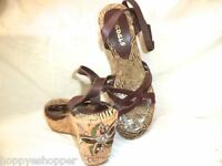 Funky Rebels Wedges Sandals Embroidered Ankle Strap High Heel Womens 7 Brown