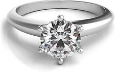 0.75Ct Forever One 6 Prong Style Moissanite Solitaire Wedding Ring 18K Wg