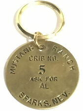 Vintage Mustang Ranch Crib No. 5 Ask for AL Key Ring Keychain Brass FREE SH