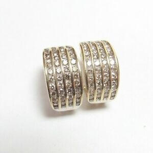 Estate 10K Yellow Gold Cognac Brilliant Cut Diamond French Clip Earrings 2 Cts