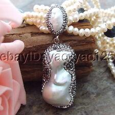 "H082407 20"" 6 Strands White Black Pearl Necklace Keshi Pearl Pendant"