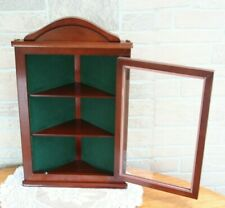 "Vintage Wood Hanging Corner Curio, Glass Door 2 Shelf Green Backing 18 3/4"" Tall"