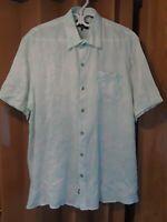 Nat Nast Mens XL Seafoam Linen Short Sleeve Hawaiian Cabana Button Up Shirt Q