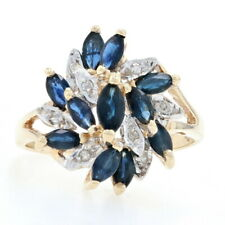 Yellow Gold Sapphire & Diamond Flower Cluster Bypass Ring - 10k Marquise 1.44ctw
