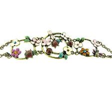 "Lady Bug Floral Enamel Rhnestone Bracelet Peace Brand 1.25x7"""