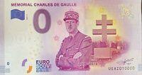 BILLET 0  EURO MEMORIAL CHARLES DE GAULLE  FRANCE  2018  NUMERO 10000 DERNIER