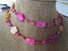 Dyed Mother of Pearl Shell Beads Handmade Necklace of Yellow, Pink, and Coral