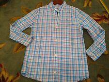 Vineyard Vines Boys Long Sleeve Whale Shirt pastel plaid small (8-10) blue pink