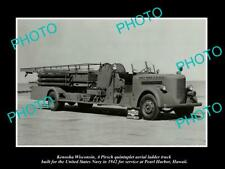 OLD 8x6 HISTORIC PHOTO OF THE PERAL HARBOR HAWAII FIRE DEPARTMENT TRUCK c1942