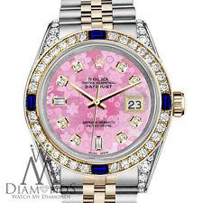 Rolex 36mm Datejust Watch Pink Flower Color Dial with Sapphire & Diamond Bezel