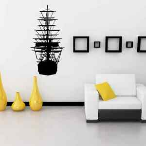 Large pirate ship silhouette living room wall sticker - vinyl wall art