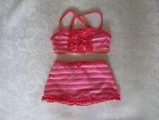 Baby girl cute red and pink striped bikini, frills, 3-6 months, 62-68cm,exc cond