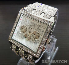 Mens Luxury Hip Hop White Gold Cubic Zirconia Geneva Bling Iced Out Wrist Watch