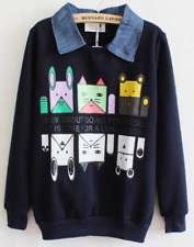 Printed Cat and Dogs Sweater with Denim Collar