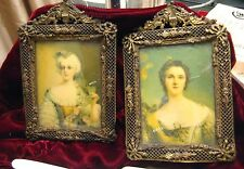 Pair of Nattier Miniature Portraits Signed Ormolu Gilt Bronze Filigree Frame