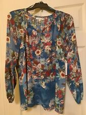 NWT MSRP $79 CHAUS FLORAL LONG SLEEVES BLOUSE