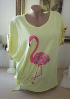 Neu Italy Sommer Shirt Tunika Flamingo Druck zum Binden Batik Gelb Pink 40-42-44