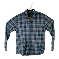 UNTUCKit Mens Sz Large Blue Green Flannel Plaid Long Sleeve Button Front Shirt