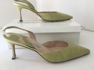 Manolo Blahnik Lizard Leather Green Womans  Heel Shoes  .Sz 41.5 (11.5).Italy