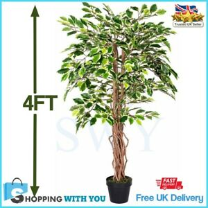 Tall Artificial Ficus Tree 4Ft Variegated Tropical Plant Decor Indoor Outdoor UK