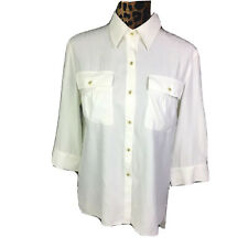 Lafayette 148 New York Womens Button Down 3/4 Sleeve Blouse White Size 2 Pockets