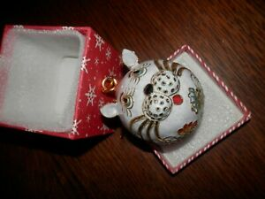 Vintage Cat Christmas Ornament, 2.5 inch w/Bling
