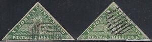 Newfoundland 1867 3d Spiro Forgery pair shades, Counterfeit, Fake.