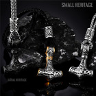 Men Viking Norse Stainless Steel Pendant Cord Chain Rune Amulet Thor Necklace photo