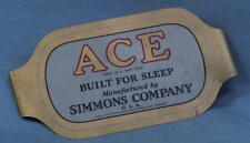 Beautiful vintage 1940s ACE manufacturers name plate from Simmons mattress Co.!