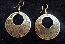 BohoCoho Quirky Boho Gypsy 70s style ethnic gold tone Festival Hoop Earrings