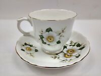 Crown Staffordshire Fine Bone China Footed Tea Cup&Saucer White Floral Gold Trim
