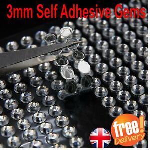 3MM SELF ADHESIVE STICK ON DIAMONTE CLEAR GEMS CRYSTAL RHINESTONE DIAMANTES UK