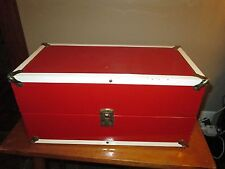 Vtg Doll Case Red Trunk Metal Box LARGE Drawer Clothes Hangers Brass Trim