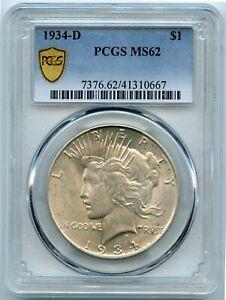 Genuine 1934-D PCGS MS62 Silver Peace $1