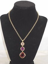 Carolee Gold BERRY CHIC Breast Cancer Red Purple Graduated Triple Drop Necklace
