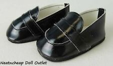 "Fits 18"" American Girl Boy Doll Clothes Black Shiney Loafers Slip on Shoes"