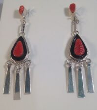 Native American Zuni Handmade Red Coral Sterling Silver Post Earrings