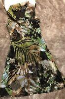 Karen Kane Dress Size S Sheer Lined Sleeveless Green Brown Ivory
