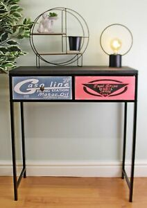Black Retro Console Table With 2 Drawers American Design Living Room