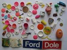 Junk Drawer Lot: Barbie Toys, Ford-Dole Sticker, Early Times Baseball Cork, etc