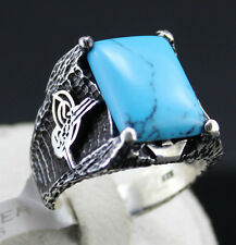 Turkish Ottoman Tugra Stamp 925 Sterling Silver Turquoise Men Ring Size 10.75